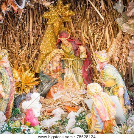 Nativity Scene With Figures - Baby Jesus, Mary, Joseph