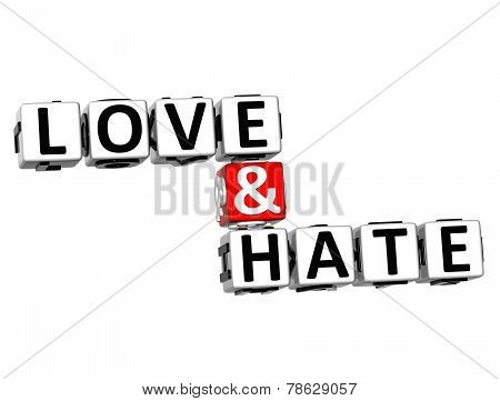 3D Word Love And Hate On White Background