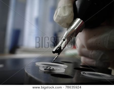 Tattoo Artist At Work. Closeup