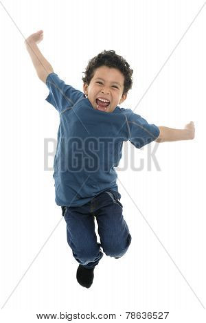 Active Happy Boy Jumping With Energy