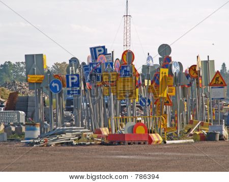 Collection of used traffic signs