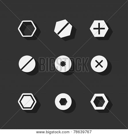 Screw bolt flat icons
