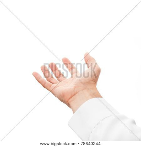 Man Hand With Empty Place, Isolated On White