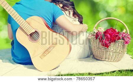 Summer, Love, Valentines Day, Vacation And People Concept - Lovely Young Couple In Love Resting Toge
