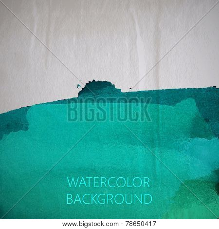 vector illustration of turquoise watercolor stain or blotch on t