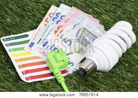 Energy saving lamp on green gras