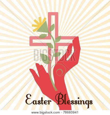 Easter Blessings Cross Sun Burst  hands and plant