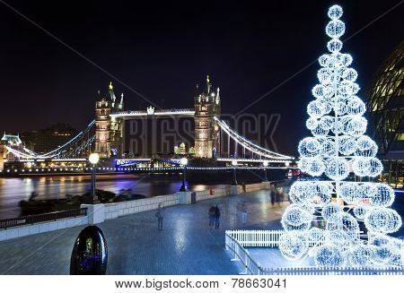 Tower Bridge And The River Thames At Christmas