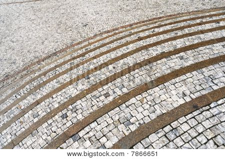 Old curved stone steps - cobblestones - granit - outdoor