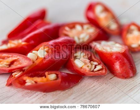 Chopped Chillies Represents Red Pepper And Burning