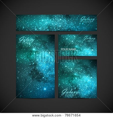 set of vector visual corporate identity with galaxy Milky Way ba
