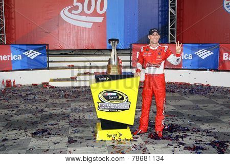 Concord, NC - Oct 12, 2014: Kevin Harvick (4) wins the Bank of America 500 at Charlotte Motor Speedway in Concord, NC.