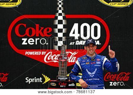 Daytona Beach, FL - Jul 06, 2014:  Aric Almirola (43) wins the