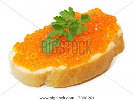 red caviar on white bread
