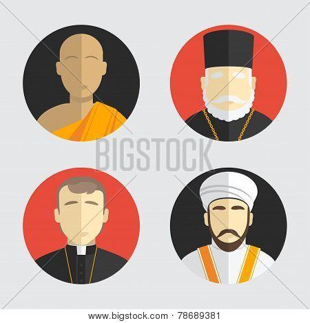 People portraits. Avatar religion. Flat design. Vector illustration