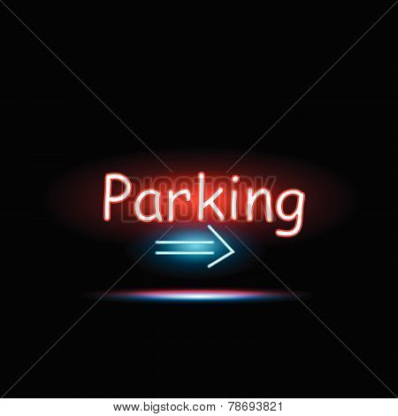Parking Neon Sign Illustration