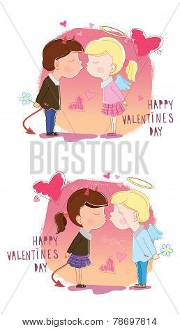 Valentine's Day. Girl and boy kisses. Vector illustration