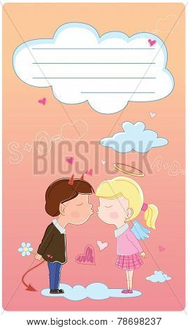 Valentine's Day Card. Girl And Boy Kisses