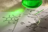 Green chemistry with reaction formula in closeup poster