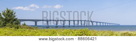 Panorama of Confederation Bridge to Prince Edward Island from New Brunswick coast  in Canada