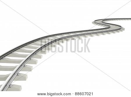Illustration bend, turn railroad isolated on white background.