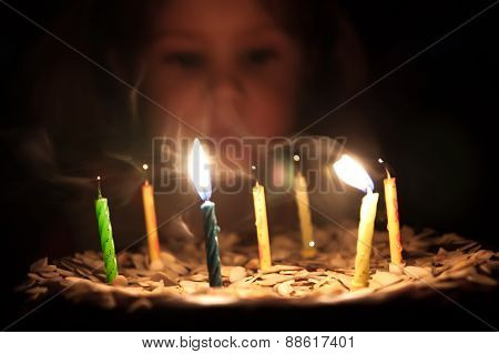 Child  blowing candles on birthday cake