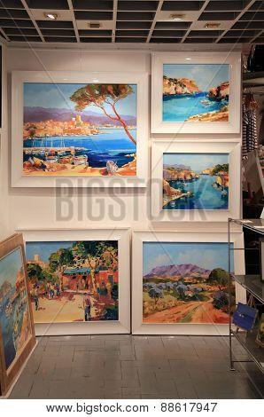 Contemporary Paintings At Art Gallery In Saint Paul De Vence,