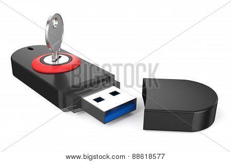 Black Usb Flashdrive Ss 3.0 With Key