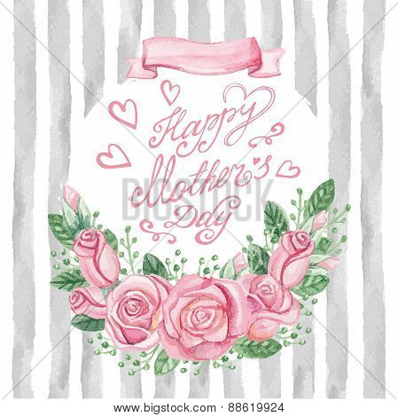 Watercolor pink roses bouquet,headline,strips.Mother day card