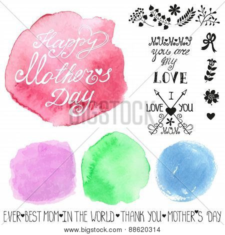 Mothers day.Watercolor steins headline catchword, flowers, branches design template.Cute  Greeting card , invitation.Hand drawing painting.Pastel color Vector.Retro poster