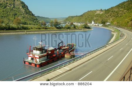 Fireboat On River Rhine