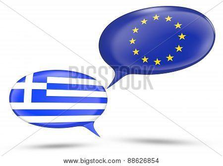 Greece - European Union relations concept with speech bubbles