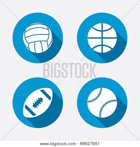 Sport balls icons. Volleyball, Basketball, Baseball and American football signs. Team sport games. Circle concept web buttons. Vector poster
