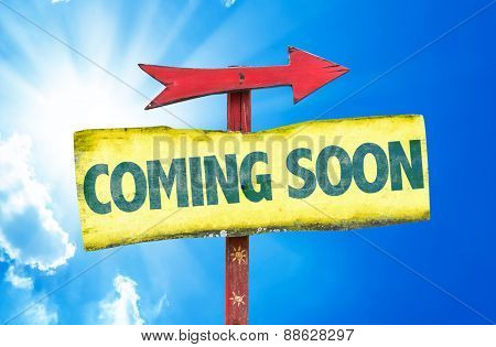 Coming Soon sign with sky background poster