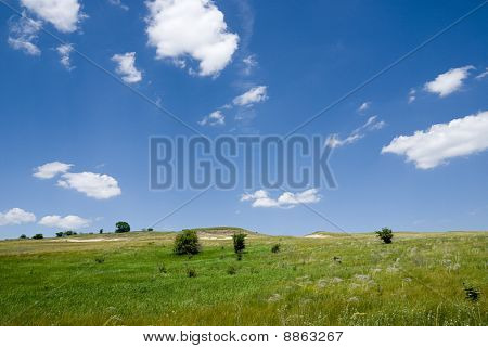 Steppe Landscape With Clouds