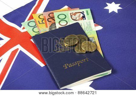 Australian Money With Passport.