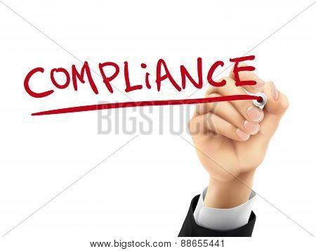 compliance word written by hand on a transparent board poster