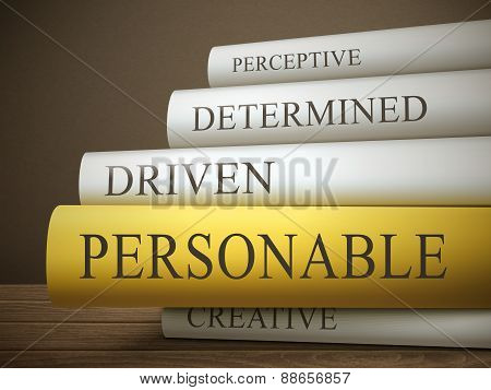 Book Title Of Personable Isolated On A Wooden Table