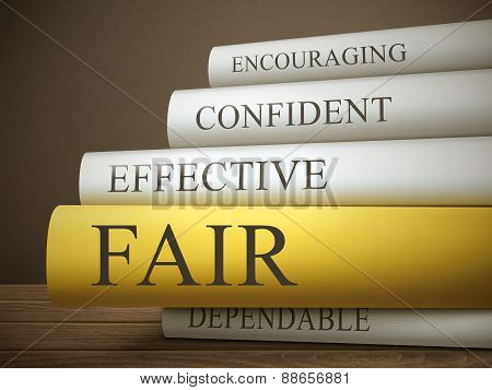 Book Title Of Fair Isolated On A Wooden Table