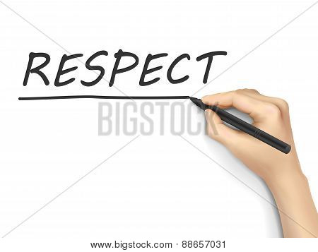 respect word written by hand on white background poster