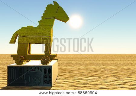 Trojan horse and computer illustration poster