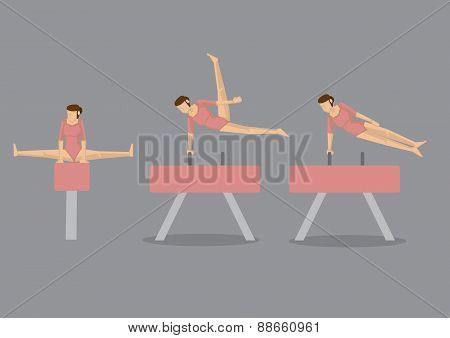 Gymnast Woman On Pommel Horse And Vault