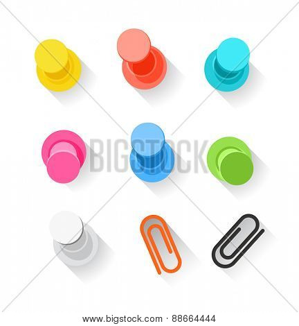 Color pins and clips collection isolated on white. Flat design elements clip-art