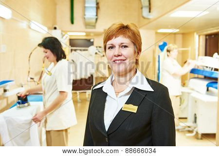 Portrait of hotel linen cleaning service manager