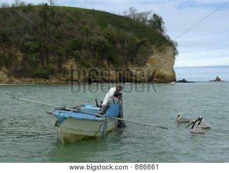 Fishermen And Three Pelicans On Pacific Ocean. Ecuador