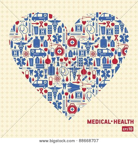 Medical vector background heart