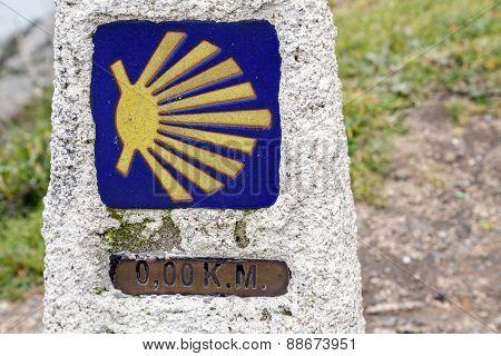 0 Km In Route To Santiago, Cope Of Finisterre, La Coruna