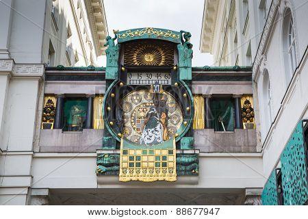 Jugendstil Ankeruhr Vienna Clock at Hoher Markt