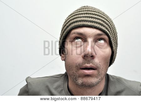 Young man suffering from toothache teeth pain swollen face poster