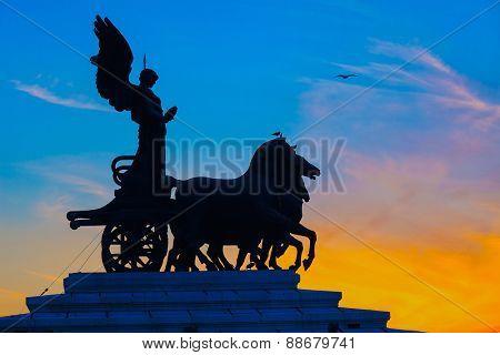 Goddess Victoria riding on quadriga, National Monument to Vittorio Emanuele II in Rome poster